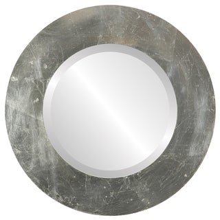 Ashland Framed Round Mirror in Silver Leaf with Brown Antique - Silver/Brown