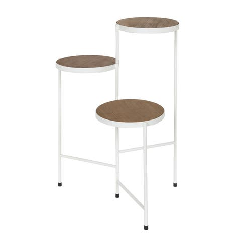 Kate and Laurel - Fields Tri-Level Metal and Wood Plant Stand