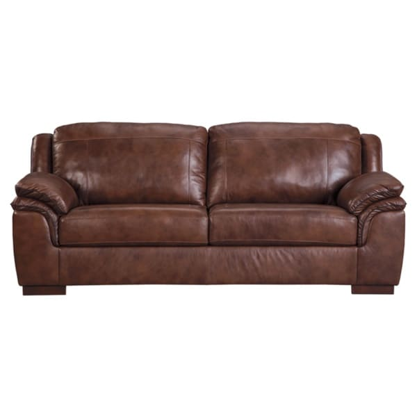 Ashley Brown Leather Sofa: Shop Signature Design By Ashley, Islebrook Contemporary