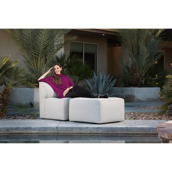 Big Joe Orahh Grey Sunbrella Modular Outdoor Lounge Chair And Ottoman Set