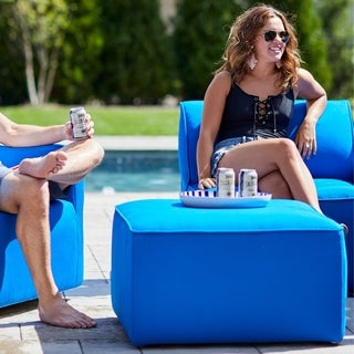 Big Joe Orahh Grey Sunbrella Modular Outdoor Lounge Chair and Ottoman Set