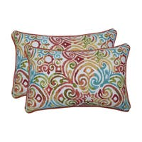 Pillow Perfect Outdoor / Indoor Corinthian Dapple Blue Rectangular Throw Pillow (Set of 2)