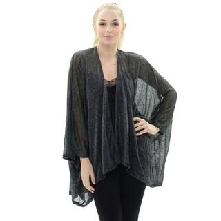 BYOS Womens Shine Sheer Day & Evening Open Front Kimono Jacket Shawl Warp (Black)