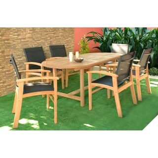 Amazonia Teak Luna 7-piece Teak Rectangular Patio Dining Set with Textile Sling