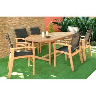 amazonia teak luna 7 piece teak rectangular patio dining set with textile sling - Teak Outdoor Dining Table