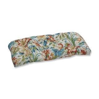 Pillow Perfect Outdoor / Indoor Botanical Glow Tiger Lily Blue Wicker Loveseat Cushion