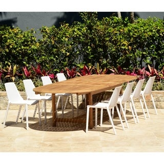 Perce White 9-piece Double Extendable Patio Dining Set by Havenside Home