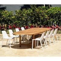 Amazonia Teak Nassau White 9-Piece Double Extendable Patio Dining Set