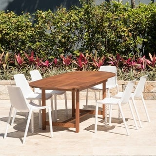 Havenside Home Perce White 7-piece Extendable Oval Side Chair Patio Dining Set