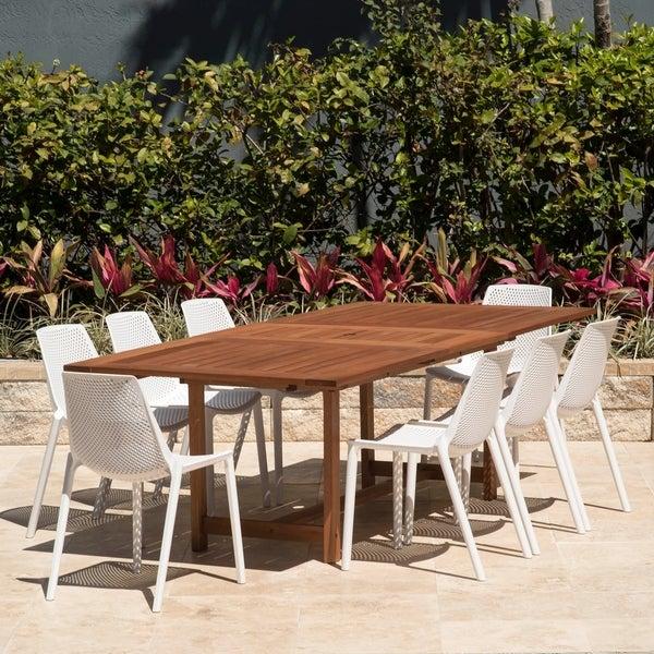 Amazonia Nassau White 9 Piece Extendable Rectangular Sidechair Patio Dining  Set
