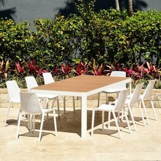 Amazonia Teak Nassau White 9-Piece Rectangular Sidechair Patio Dining Set