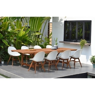 Amazonia Hawaii White 9-Piece Extendable Rectangular Patio Dining Set