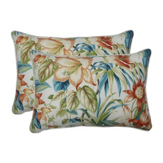 Pillow Perfect Outdoor / Indoor Botanical Glow Tiger Lily Blue Over-sized Rectangular Throw Pillow (Set of 2)