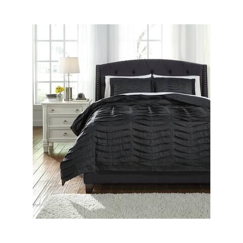 Voltos Ridged Black Modern Duvet Cover Set