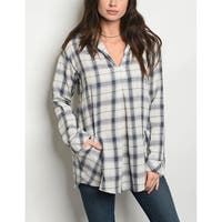 JED Women's Relax Fit Long Sleeve Plaid Shirt