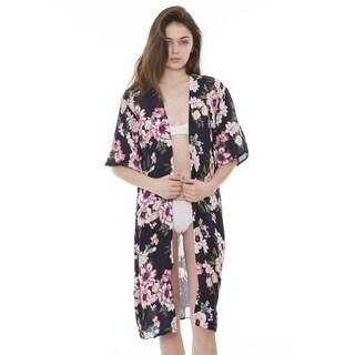 Womens Soft Beautiful Printed Open Front Long Kimono Robe Beach Coverup