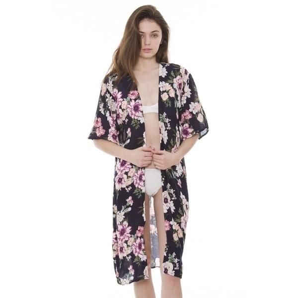 3de2ecc190 Shop Womens Soft Beautiful Printed Open Front Long Kimono Robe Beach ...