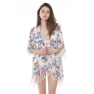 Womens Breezy Soft Lightweight Stylish Boho Printed Kimono Cardigan Beach Pool Cover-up W/ Fringes Tassels