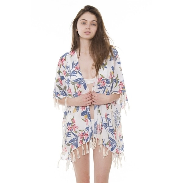 86c8c63233f Womens Breezy Soft Lightweight Stylish Boho Printed Kimono Cardigan Beach  Pool Cover-up W