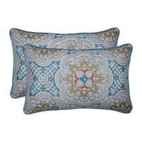 Pillow Perfect Outdoor / Indoor Astrid Aqua Blue Rectangular Throw Pillow (Set of 2)