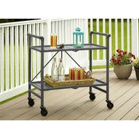 Cosco Outdoor Living SMARTFOLD Outdoor Or Indoor Folding Serving Cart with 2 Slatted Shelves