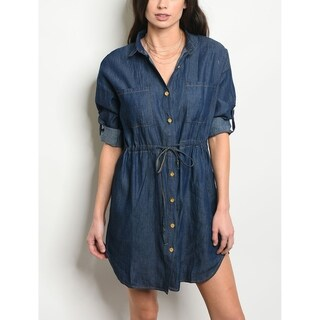JED Women's Button Down Denim Tunic Shirt Dress