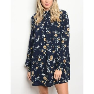JED Women's High Neck Floral Long Sleeve Tunic Dress