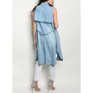 JED Women's Washed Denim Belted Long Vest
