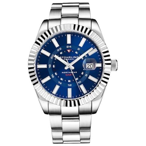 """Stuhrling Original Men's Stainless Steel """"NORTHSTAR"""" GMT Watch, Swiss Quartz, Dual Time, Quickset Date, Fluted Bezel"""