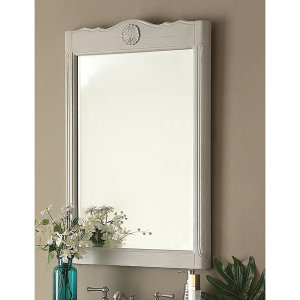 """24"""" Daleville Wall Mirror Vintage Style Distressed Gray MR-838CK"""