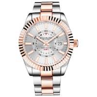 """Stuhrling Original Men's Stainless Steel """"NORTHSTAR"""" GMT Watch, Swiss Quartz, Dual Time, Quickset Date, Fluted Bezel - N/A"""