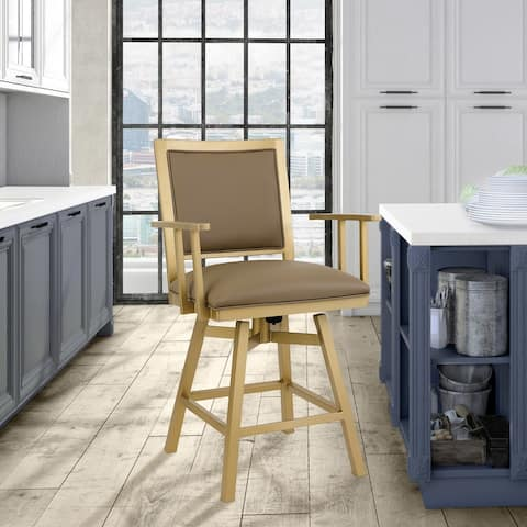 """Taylor Gray Home Lancaster 30"""" Bar Height Metal Swivel Barstool in Dillon Balsa Faux Leather and Opaque Gold Finish"""