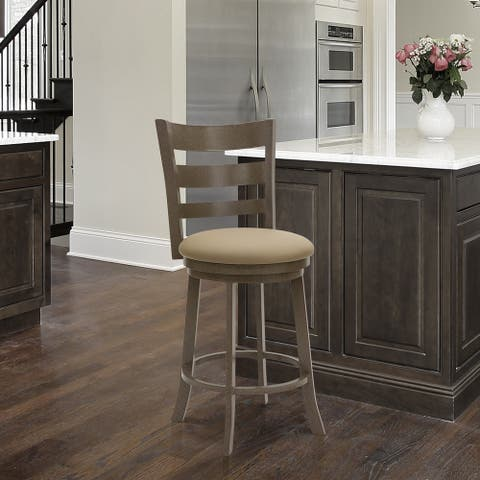 """Taylor Gray Home Brussels 26"""" Counter Height Metal Swivel Barstool in Dillon Balsa Faux Leather and Mocha Grey Finish"""