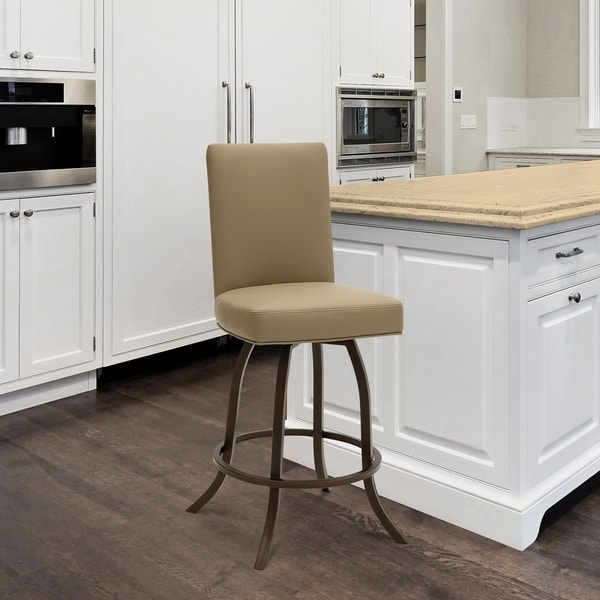 """Taylor Gray Home Sora 26"""" Counter Height Metal Swivel Barstool in Dillon Balsa Faux Leather and Sun Bronze Finish Finish. Opens flyout."""