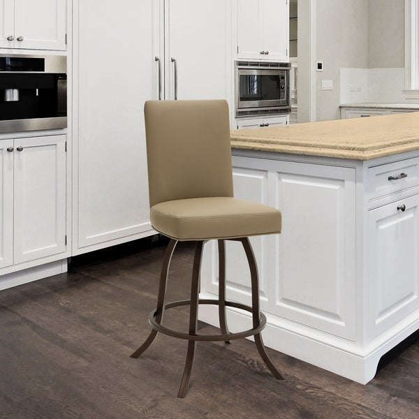 """Taylor Gray Home Sora 30"""" Bar Height Metal Swivel Barstool in Dillon Balsa Faux Leather and Sun Bronze Finish Finish. Opens flyout."""