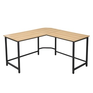 Poly and Bark The Tristan Compact L-Shaped Office Desk in Natural, Black