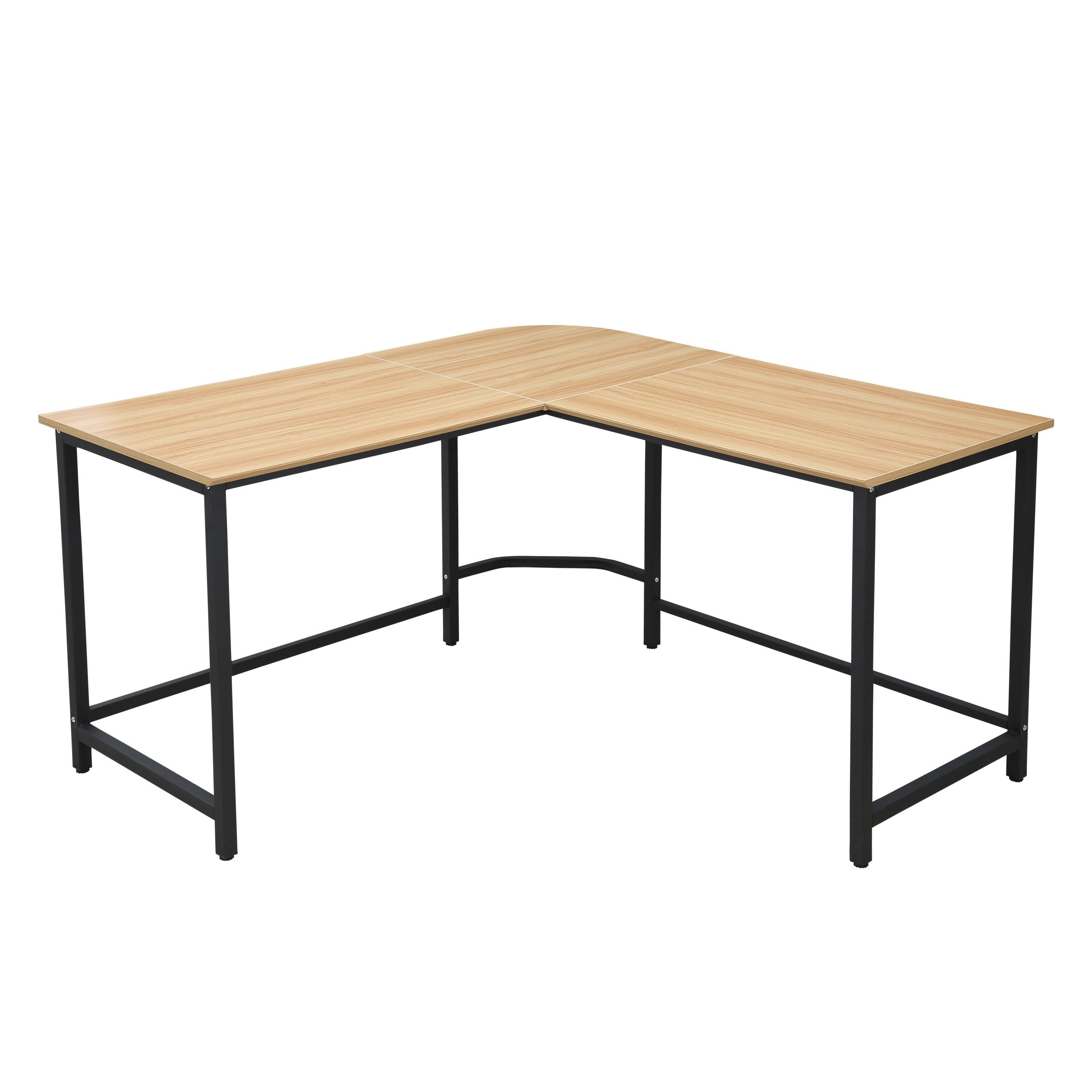 Poly And Bark The Tristan Compact L Shaped Office Desk In Natural Black