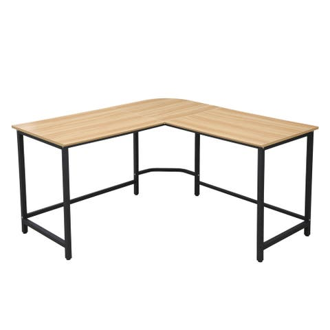 EdgeMod The Tristan Compact L-Shaped Office Desk in Natural, Black
