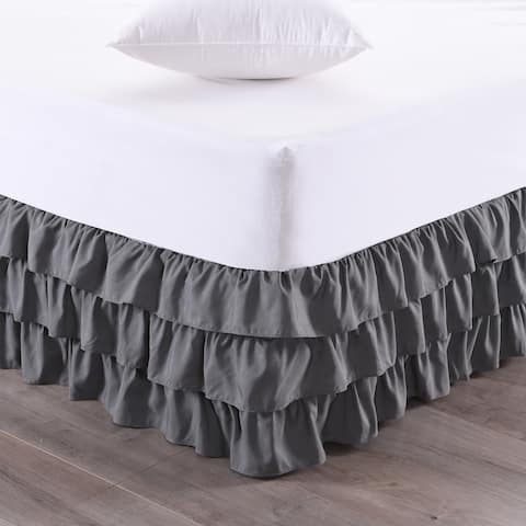 Waterfall 3-Layer Ruffled 14-Inch Drop Bedskirt (Queen, King) Grey