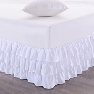 Waterfall 3-Layer Ruffled 14-Inch Drop Bedskirt (Queen, King) White