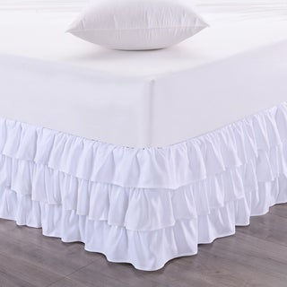 Waterfall 3-Layer Ruffled 14-Inch Drop Bedskirt (Queen, King) White (2 options available)