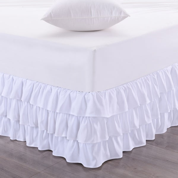 shop waterfall 3 layer ruffled 14 inch drop bedskirt queen king white free shipping on. Black Bedroom Furniture Sets. Home Design Ideas