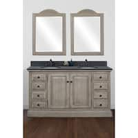 """60""""Solid Recycled Fir Double Sink Vanity with Polished Textured Surface Finish Granite Top-No Faucet"""