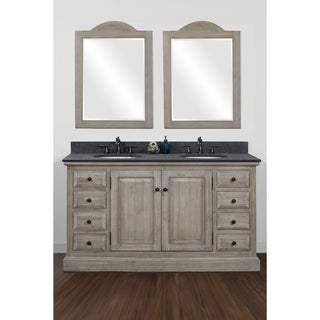 "60""Solid Recycled Fir Double Sink Vanity with Polished Textured Surface Finish Granite Top-No Faucet"