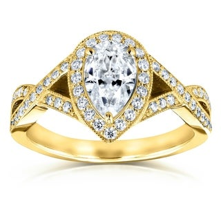 Annello by Kobelli 14K Gold 1 1/3ct TGW Pear Moissanite and Diamond Halo Crossover Engagement Ring (DEF/VS, GH/I)