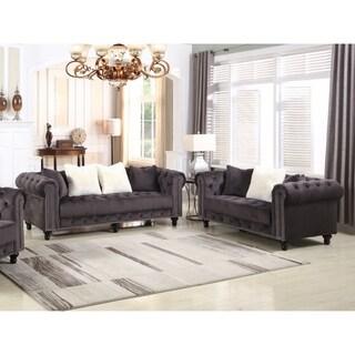 Best Master Furniture Grey Upholstered 2 Pcs Living Room Set