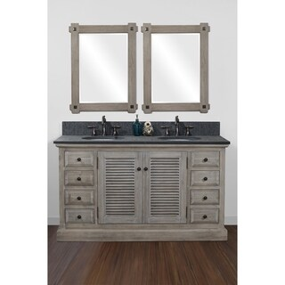 "60""Solid Recycled Fir Double Sink Vanity with Polished Textured Surface Granite Top-No Faucet"