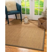 Natural Area Rugs Sorrento Multicolor Sisal with Fossil Border Handmade Area Rug - 9' x 12'