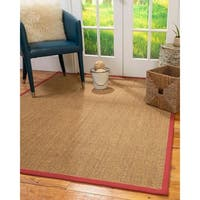 Natural Area Rugs Handmade Sorrento Multicolor Sisal Red Border Area Rug - 9' x 12'