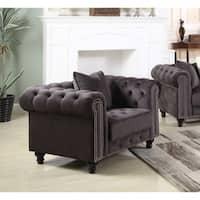 Best Master Furniture Grey Velvet Upholstered Chair